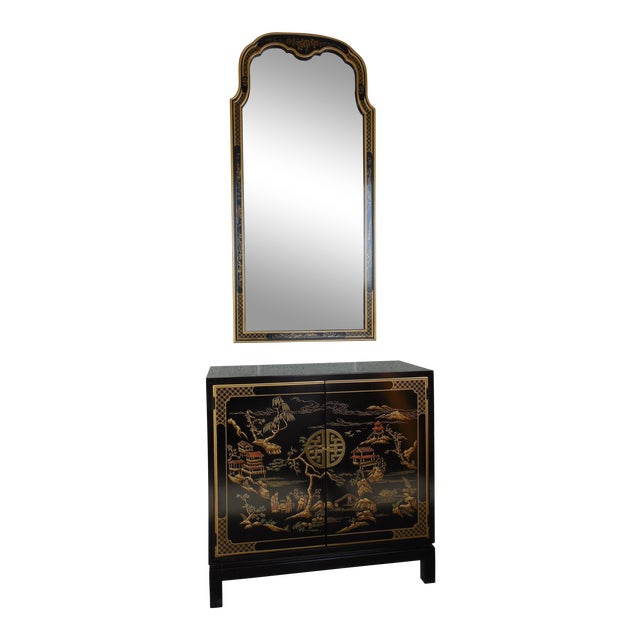 Drexel Et Cetera Black Lacquer Chinoiserie Decorated Console & Mirror For Sale