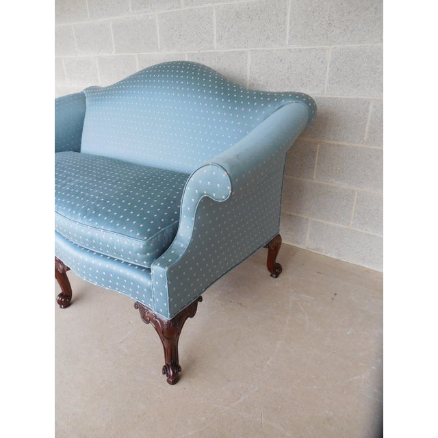 "Blue BAKER Chippendale Style Camel Back Settee Sofa 61.5""W For Sale - Image 8 of 11"