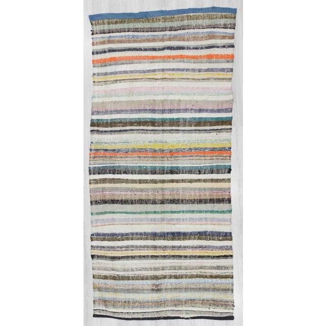 "Vintage Striped Rag Rug - 5'3"" x 11'5"" For Sale In Los Angeles - Image 6 of 6"