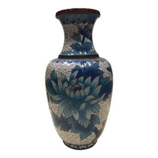 Antique Blue and White Cloisonné Vase For Sale