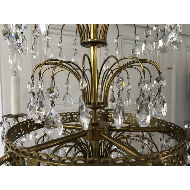Russian Baltic Crystal Layered Polished Brass Waterfall Chandelier For Sale - Image 4 of 11