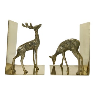 Brass Spotted Deer Bookends For Sale