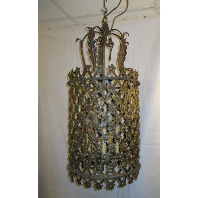 Metal Tole Lantern in Cylinder Style For Sale - Image 7 of 7