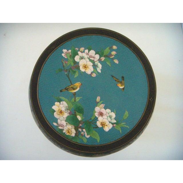Antique Chinese Cloisonné & Black Lacquer Drum/Side Table - Image 3 of 6