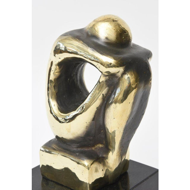 Polished Figurative Brass and Granite Seated Sculpture/Desk Accessory For Sale In Miami - Image 6 of 11