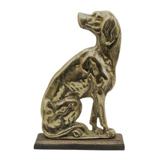 Antique English Brass Sporting Whippet Dog Sculpture For Sale