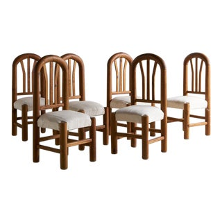 Set of 6 Hand Carved Wooden Dining Chairs For Sale