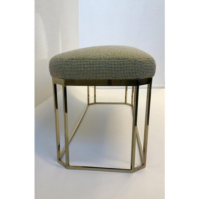 Hexagonal Shape Brass Bench by Milo Baughman For Sale - Image 9 of 12