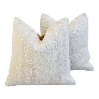 "Organic Hemp/Cotton Kilim Feather/Down Pillows, 19"" Square - Pair For Sale"