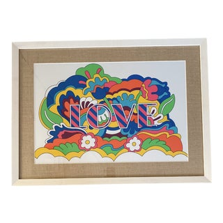 """Late 20th Century Retro Psychedelic """"Love"""" Framed Art Print For Sale"""