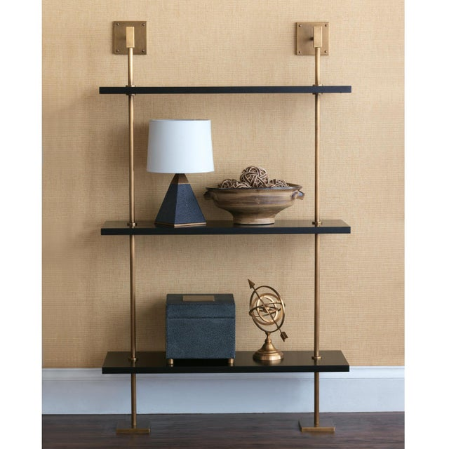 Transitional Marais 3-Tier Black & Brass Shelf For Sale - Image 3 of 6