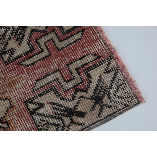 """1970s 1970s Turkish Wool Rug - 34"""" X 16"""" For Sale - Image 5 of 9"""