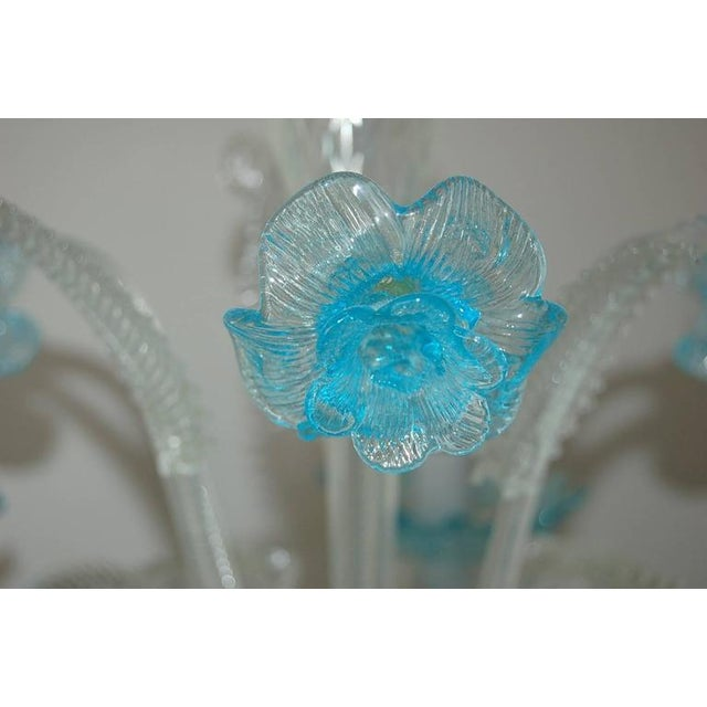 Glass Chandelier Vintage Murano Glass Clear Blue For Sale - Image 7 of 10