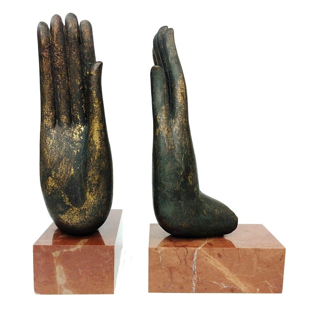 Mottahedeh Italian Bronze Hand & Marble Bookends-A Pair - Image 1 of 8