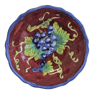 Vintage Italian Hand-Painted Ceramic Wall Plate For Sale