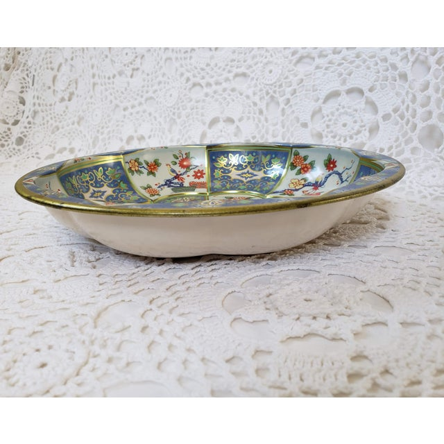 1970s 1970s Blue & White Oriental Floral Tin Bowl by Daher For Sale - Image 5 of 9