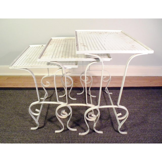 White Metal Nesting Tables - Set of 3 - Image 6 of 8