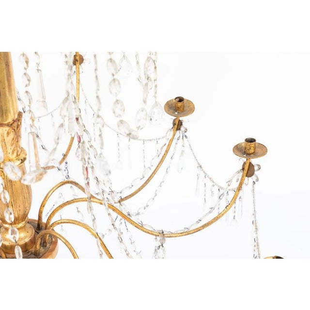 18th Century Italian Giltwood and Gilded Iron Chandeliers - a Pair For Sale In Los Angeles - Image 6 of 12
