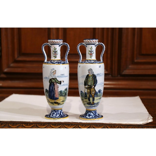19th Century French Hand-Painted Brittany Vases Signed HB Quimper - a Pair For Sale - Image 13 of 13