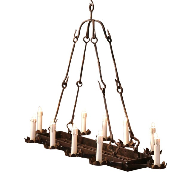19th Century French Gothic Forged Iron Ten-Light Chandelier For Sale