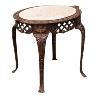 1910s Oval Steel & Marble Occasional Table For Sale
