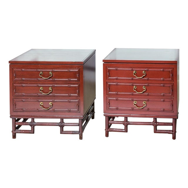 Vintage Ficks Reed Faux Bamboo Chinese Red Nightstands-A Pair For Sale