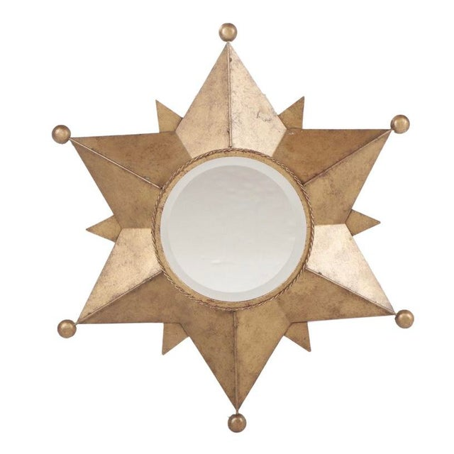 Contemporary Gold-Tone Metal Star Shaped Accent Mirror For Sale - Image 9 of 9