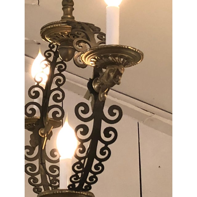 Metal Pair of Extraordinary and Rare Medieval Style Antique Light Fixtures For Sale - Image 7 of 12