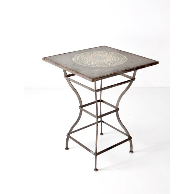 Vintage Mosaic Tall Patio Table - Image 3 of 11