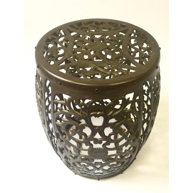 Asian Brass Filigree Garden Stool - Image 3 of 5