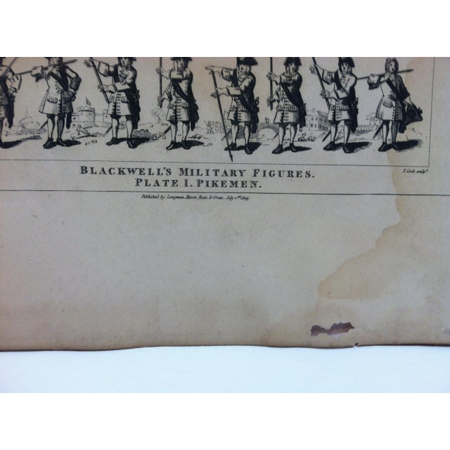 "English 1840s Antique John Hogarth ""Blackwell's Military Figures - Pikemen"" Original Engraving Print For Sale - Image 3 of 4"