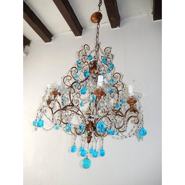 1900 - 1909 French Blue Murano Balls Beaded Swags Chandelier, circa 1900 For Sale - Image 5 of 13