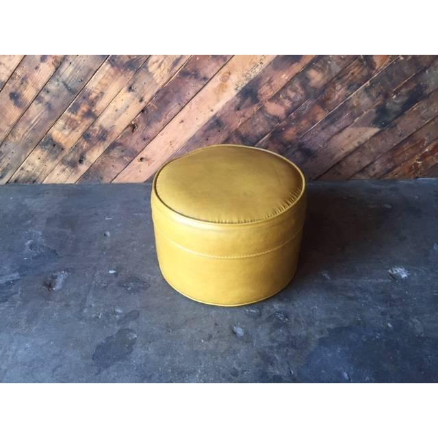 Vintage Mid-Century Mustard Yellow Vinyl Ottoman - Image 2 of 5