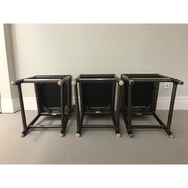 Contemporary McGuire Leather Banded Counter Stools - Set of 3 For Sale - Image 3 of 12