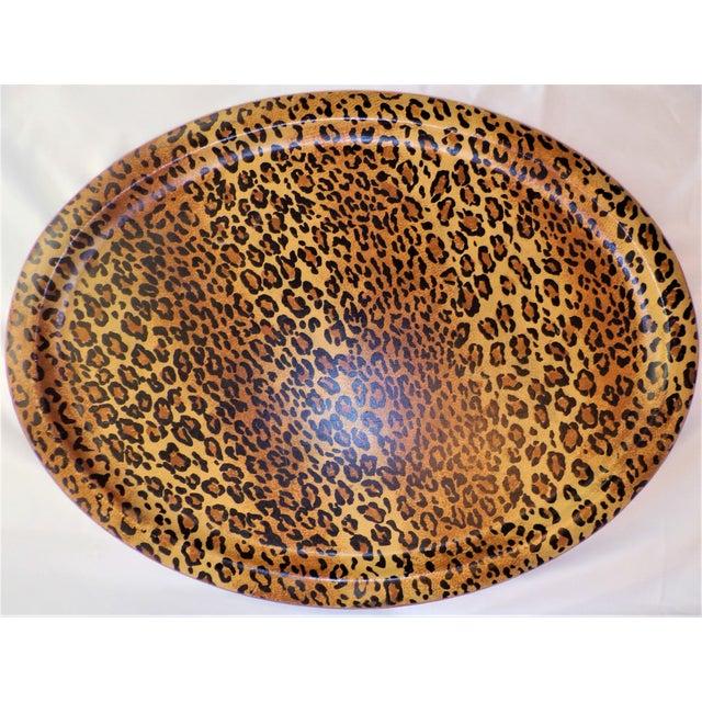 1980s (Final Markdown Taken) Vintage 1980's Leopard Design Regency Tray For Sale - Image 5 of 9