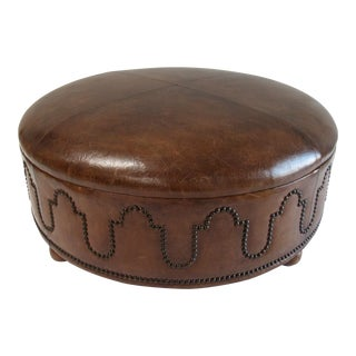 """Custom Moroccan-Style Oversized Round Tooled """"Gaufrage"""" Leather Ottoman For Sale"""