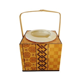 Vintage Ashtray with Bamboo Holder For Sale