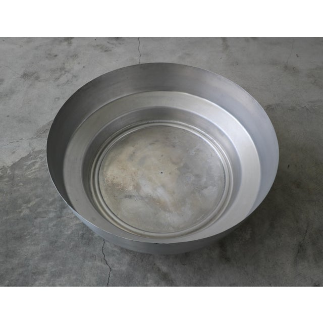 Metal Round Aluminum Chrome and Mirror Drum Canister Coffee Table by Gj Neville For Sale - Image 7 of 10