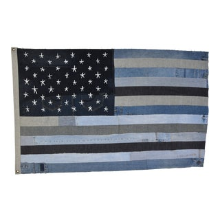 "Chic Ralph Lauren Style Denim Patchwork American Flag Art Throw 58"" X 37"""