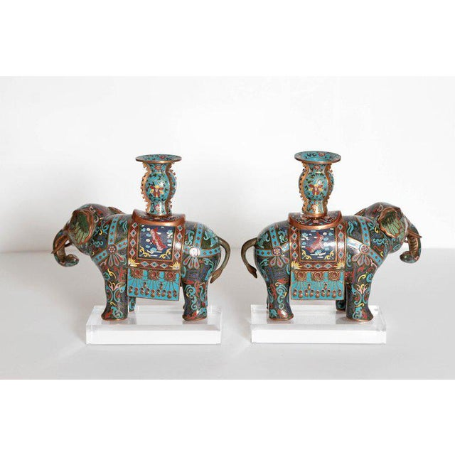 Turquoise Pair of Chinese Cloisonne Elephants For Sale - Image 8 of 13
