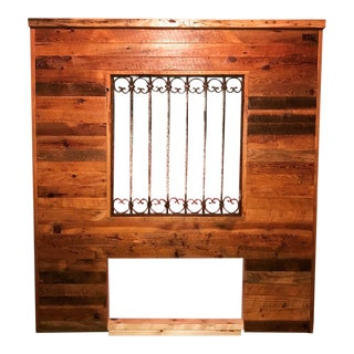 Farm Board & Iron Gate Headboard For Sale
