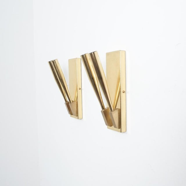 Brass Wall Lights Sconces Attributed Gio Ponti Midcentury For Sale - Image 11 of 11