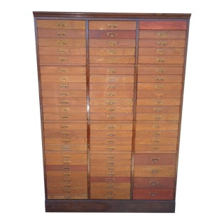20th Century Antique Oak 68 Drawer Wood File Cabinet For Sale