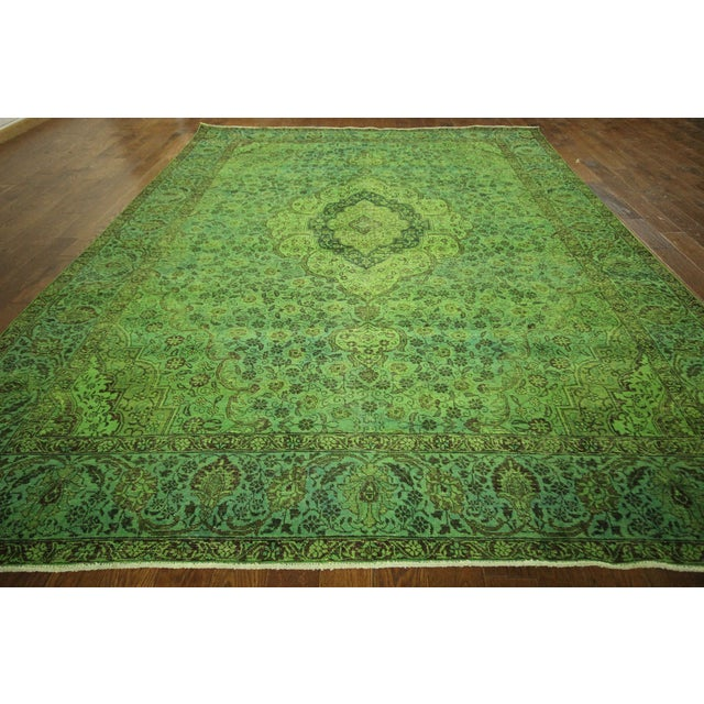 "Lime Green Overdyed Tabriz Area Rug - 9'5"" x 12' - Image 3 of 10"