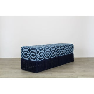Blue Geometric Chenille Bench With Lucite Legs, Blue Ottoman, Mid Century Ottoman Preview