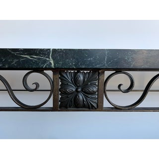 1900s French Art Nouveau Wrought Iron & Marble Hall Table Preview