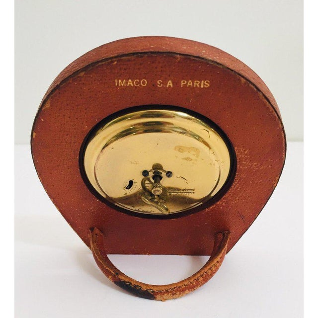 Longchamp Leather and Brass French Longchamp Desk Clock Jacques Adnet Style For Sale - Image 4 of 13