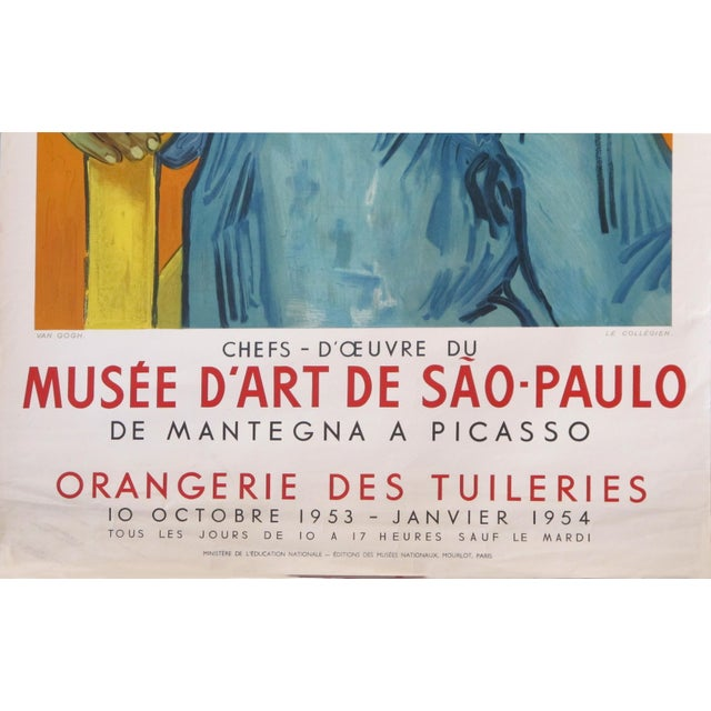 Portraiture 1954 French Exhibition Poster, Masterpieces From the Sao Paolo Museum of Art - Van Gogh For Sale - Image 3 of 8
