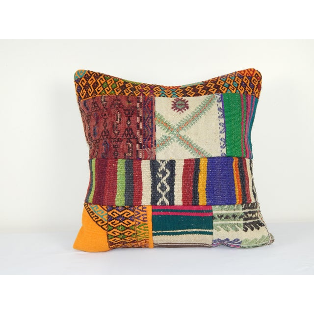 "Vintage Turkish Kilim Pillow Cover 20"" X 20"" For Sale In Dallas - Image 6 of 6"