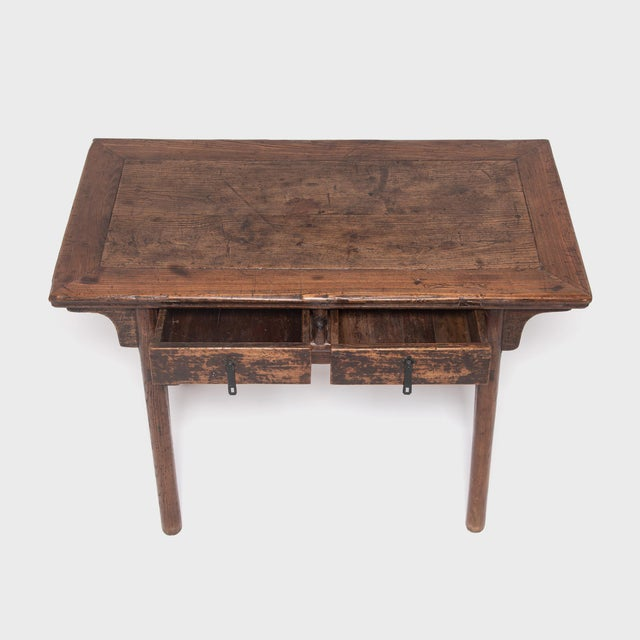 Early 19th Century 19th Century Chinese Two Drawer Provincial Table For Sale - Image 5 of 8